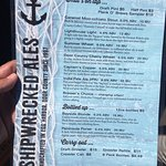 Shipwrecked beer menu