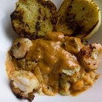 Shrimp & Grits - swimming in gravy with soggy garlic bread