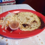 Supreme Pupusa with Cabbage, Hot Sauce
