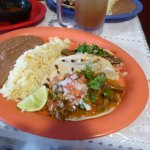 Beef Tongue Soft Tacos, Rice and Beans