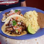 Pork Tacos, Rice and Beans