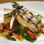 Grilled Miso Swordfish w/ baby bok choy stir fry, ginger lemongrass broth