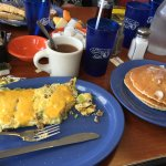 Omelet and fluffy pancakes