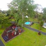Playground + Volleyball court + Swimming pool