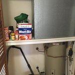 Broken towel hanger, 90s air conditioner, pantry?, kitchen