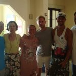 Two of the hotel staff (2nd from left and last man).