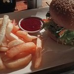 Yummy salad burger with beetroot and pineapple