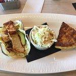 Fish Taco, Quiche and Cole Slaw