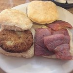 The amazing fried green tomato biscuit and the country ham biscuit