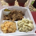 Chopped pork with potato salad and mac n cheese