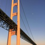 Sailing toward the Mackinac Bridge