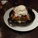 lemon glazed bread pudding with ice cream.