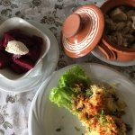 Peasant potatoes with pork and beetroot salad that was spoiled
