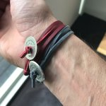 Quality leather with silver Disc. Purchased at Koukla Art, Santorini, Greece.