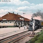 This is an artistic view of Cornelia's Historic Train Depot when the Depot was a train stop.