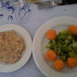 Cheese balls+aubergine salad