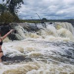 Sitting on the edge of Victoria Falls - Angel's Armchair