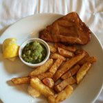 Room service. Fish+Chips. No tartar sauce as described :( for £10.50