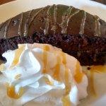 Dark Moist Chocolate Cake drizzled with carmel