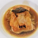 Pan Roasted Gulf Grouper with king trumpet mushrooms in truffle chicken jus.