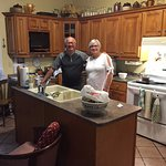 Hosts Ann and Larry in kitchen