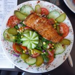 Generous and beautifully presented salmon salad