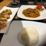 red curry, steamed rice & spring rolls from the limited menu