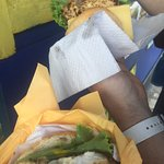 Delicious fish sandwiches with cheese and we added the yellow pepper sauce, so good and sooooo c