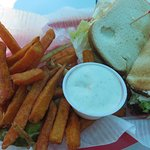 BLT sandwich and sweet potato fries