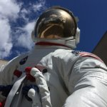 Astronaut outside the Ford Museum