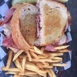 Reuben sandwich and fries