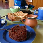 Awesome Traditional Coffee with Delicious Sandwiches and Walnut Cake