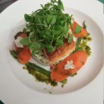 Roasted salmon with crab & prawn risotto