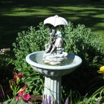 Water fountain amid the gardens.