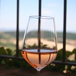 Delicious glass of House Rose with a stunning view!