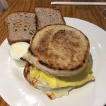 Turkey sausage egg and cheese sandwich with banana bread toast. Cinnamon raisin French toast. Bo