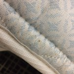 Spots on mattress indicative of bed bugs
