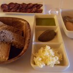 Bread, cheese, olive oil, sausage and pate