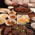 Barbecue pork far dish and short ribs close up.
