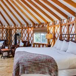 Each yurt comes equipped with a gas fireplace and private deck