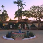 The entrance to Casa Romantica at sunset before a performance