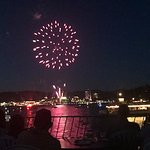 Picture of the fireworks looking from the water back at the resort!