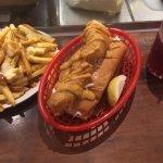 Lunch at hte Fed - fish sandwich and poutine - yes I'm Canadian!