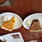 Pies in Chester...lemon chess on right, molasses raisin on the left. Also had quiche, but ate it