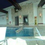 Inside pool and hot tub