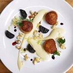 Scallops with cauliflower puree, merlot braised chorizo & port wine reduction