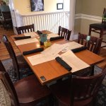 The table is located in the upstairs dining room