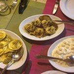 Ravioli with pistachio and herbs, gnocchi, and a pesto ravioli