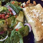 Enchiladas Verde: The cilantro oil salad dressing is so good I could drink it!