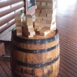 The front porch has jumbo jenga blocks to play outside with friends or family